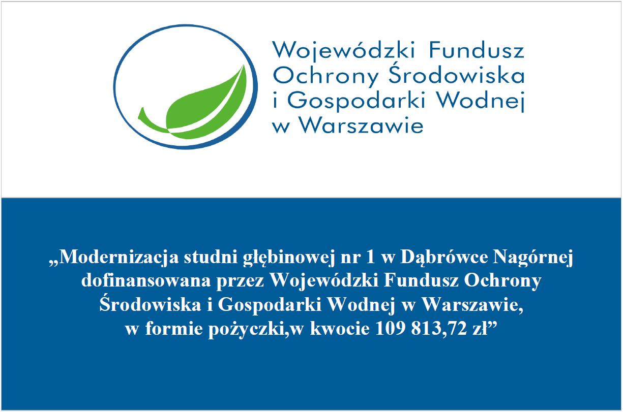 Tablica informacji o modernizacji studni głębinowej w Dąbrówce Nagórnej