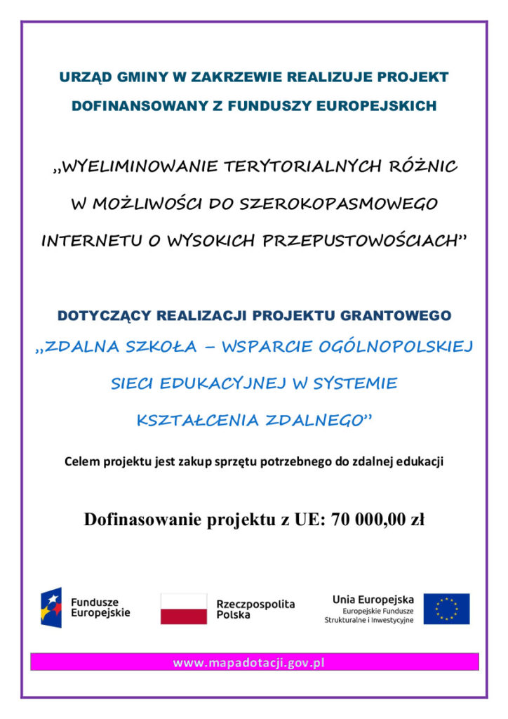 Plakat projektu Zdalna Szkoła