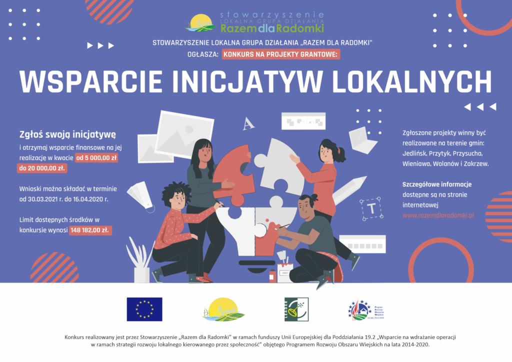 Plakat informujący o wspieraniu inicjatyw lokalnych. Wszelkie informacje w linku poniżej.