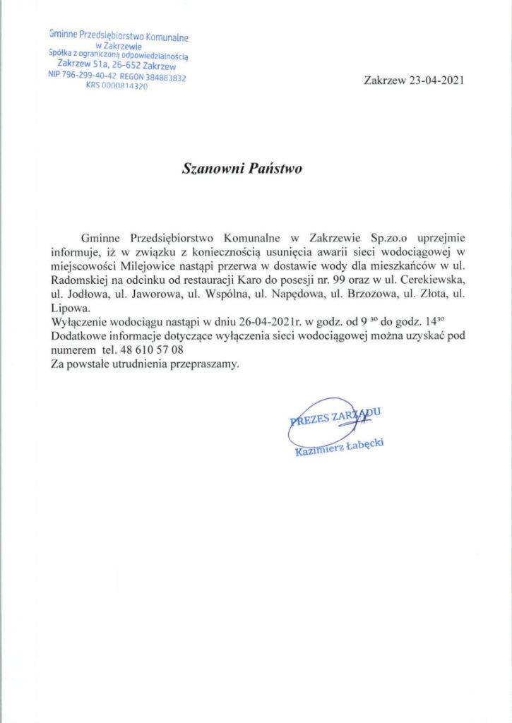 Ogłoszenie o przerwie w dostawie wody w miejscowości Milejowice w dniu 26-04-2021 r. w godz. 9:30-14:30