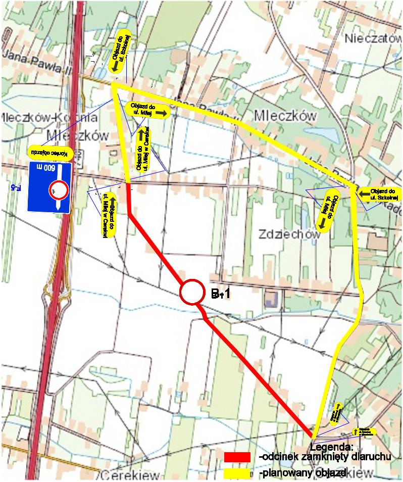 Mapa objazdu ulicą Szkolną w Mleczkowie – DW740 – ulicą Cerekiewską w miejscowości Milejowice