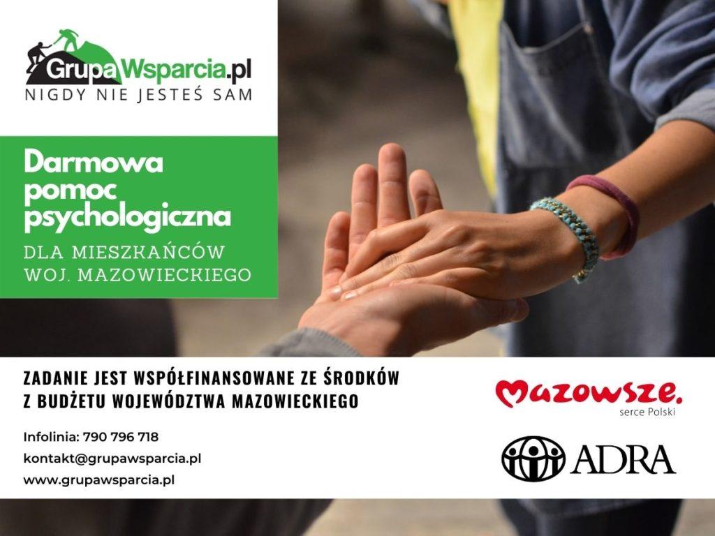 Darmowa pomoc psychologiczna dla mieszkańców Województwa Mazowieckiego. Infolinia 790 796 718 kontakt@grupawsparcia.pl