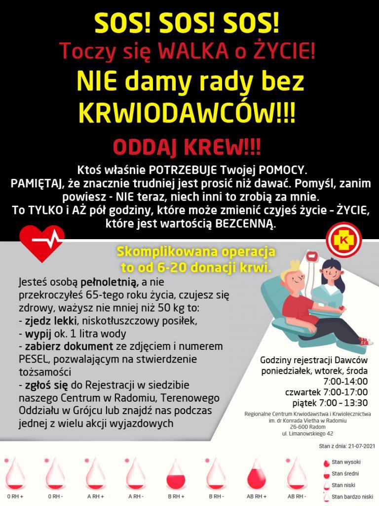 Plakat informujący o potrzebie oddawania krwi.