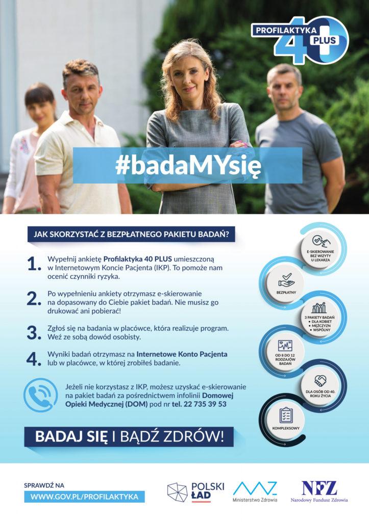 Plakat rządowego programu Profilaktyka 40 plus