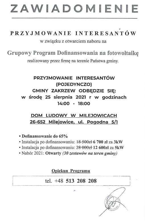 Ulotka o naborze na Grupowy Program Dofinansowania na fotowolatikę. Tel kontaktowy 48 513 208 208