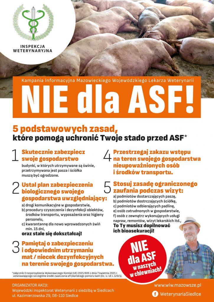 Plakat informacyjny Kampanii Nie dla ASF